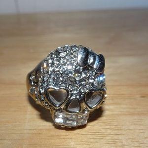 Lot of (2) Skull Silver Tone Rings